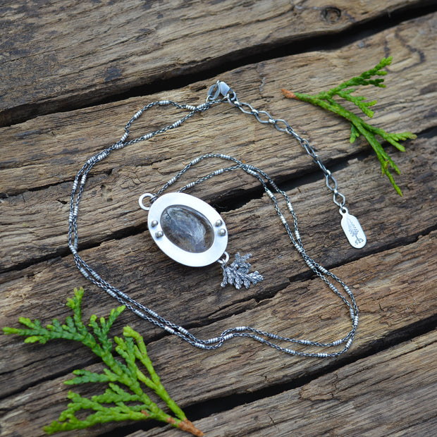 Winter Melt Pendant 1 - Natural Enhydro Quartz Necklace