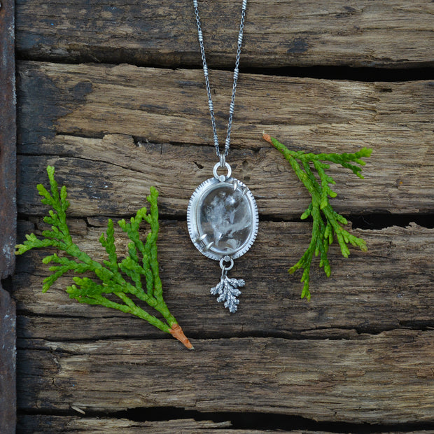 Winter Melt Pendant 4 - Natural Enhydro Quartz Necklace