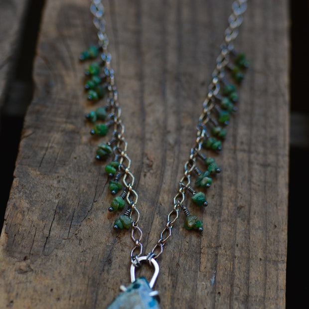 "Woodland Goddess Statement Necklace - Ocean Jasper and Emerald on a 24"" Chain"