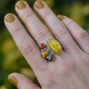 Northern Harvest Ring - Amber Split Shank Ring Size 9.5 - Autumn in New England Collection