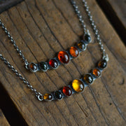 Fall Stone Collector's Pendants - Amber and Tourmaline Necklace
