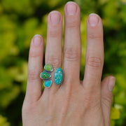 Turquoise Collector Ring -Natural Turquoise Split Shank Adjustable Ring - Size 7