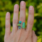 Turquoise Collector Ring -Natural Turquoise Split Shank Adjustable Ring - Size 8