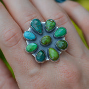 The Stone Collector Statement Ring - Natural Turquoise Cluster Ring - Size 9
