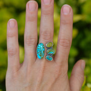 Turquoise Collector Ring -Natural Turquoise Split Shank Adjustable Ring - Size 7.5