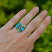 Turquoise Collector Ring -Natural Turquoise Split Shank Adjustable Ring - Size 5.75