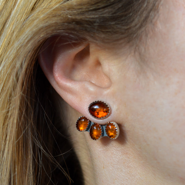 Amber Mountain Maven Ear Jackets - Baltic Amber Earrings