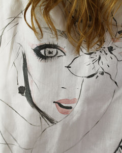 One of a Kind - Fashion Illustration Oversized Button Down (Hand Painted Design)