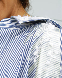 One of a Kind -Hand Sewn Detail Blue Stripe Shirt