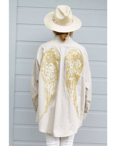 One of a Kind - Angel Wings Oversized Button Down (Hand Painted Design)