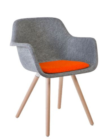 Moka Felt Sustainable Tub Chair, Beech Leg