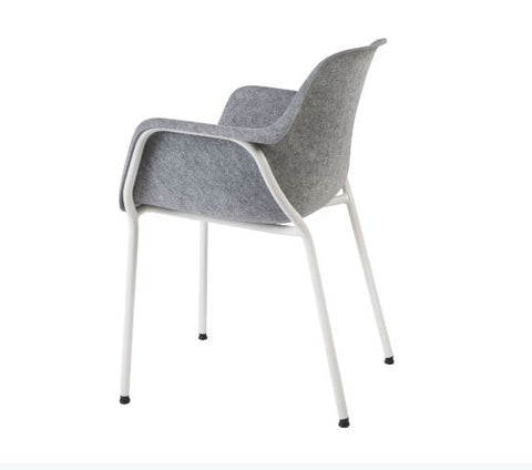 Moka Felt Sustainable Tub Chair, Polished Chrome 4 leg.