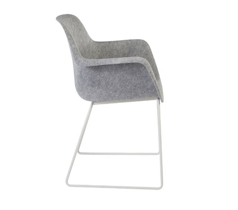 Moka Felt Sustainable Tub Chair, Polished Chrome Skid Frame.