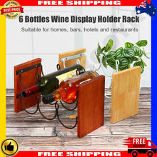 Load image into Gallery viewer, 6 Bottle Wooden Rack Kitchen Bar Display Stand Holder Shelf Home Decor AU