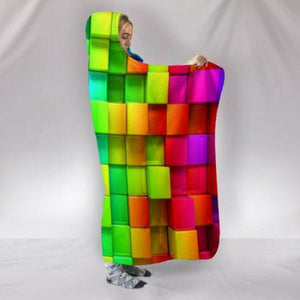 Warm 3D Colored Cubes Hooded Blankets Wearable Soft Towel Plush Mat
