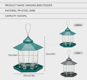 Hanging Bird Feeder Garden Wild Seed Container Waterproof Gazebo Shape Outdoor