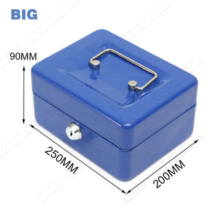 Cash Box Safe Storage Metal Lock Security Key/Code Lock Children Gift Toy