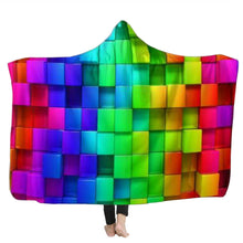 Load image into Gallery viewer, Warm 3D Colored Cubes Hooded Blankets Wearable Soft Towel Plush Mat