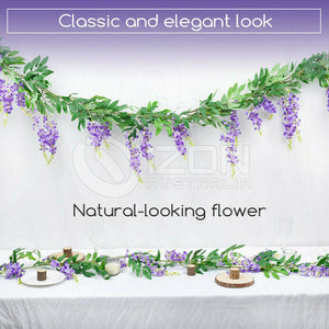 Hanging Artificial Silk Wisteria Fake Garden Flowers Plants Vines Decor Eyeful
