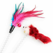 Load image into Gallery viewer, Cat Spring Mouse Feather Play Toy Teaser Bell Wand Interactive Kitten Pet Stick