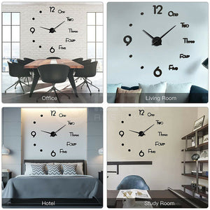 3D Wall Clock Acrylic Modern DIY Mirror Surface Sticker Home Office Decor
