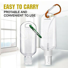 Load image into Gallery viewer, Empty Refillable Plastic Bottles With Belt Clip Hook 50ml Travel Sanitizer