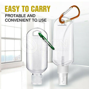 Empty Refillable Plastic Bottles With Belt Clip Hook 50ml Travel Sanitizer