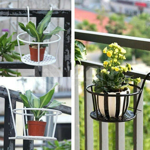 3x Hanging Railing Planter Iron Baskets Flower Pot Holder Planters Assemble