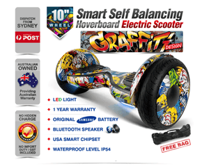Electric Hoverboard, Self Balancing Scooter -Spider 10 – Graffiti – Bluetooth + Free Carry bag
