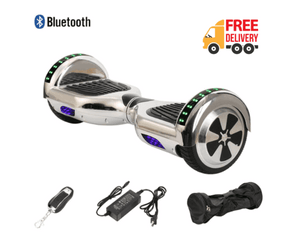 "6.5"" Wheel Hoverboard Self Balancing Scooter - Silver Chrome Colour"