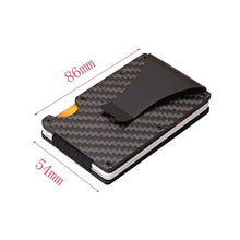 Load image into Gallery viewer, Business Aluminum Wallet Automatic Slide Card Case Carbon Fiber PU Leather Metal ID Credit Card Holder Clip