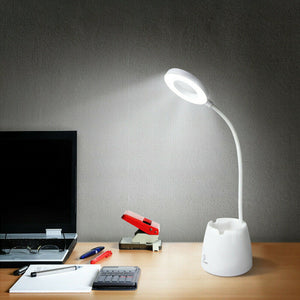 Rechargeable Touch LED Desk Lamp Bedside Study Reading Table Light Phone Holder
