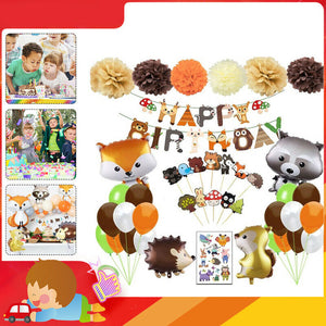 95PCS Supplies Set Woodland Decorations Including Happy Birthday