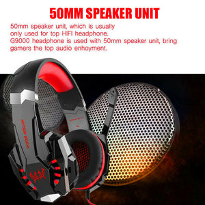 Red Gaming Headset LED MIC Adjustable Headphones for Mac Laptop PS4 Xbox One AU