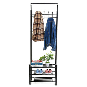 Iron Coat Rack Shoe Rack Multifunctional Hat Clothes Umbrella Hangers Storage