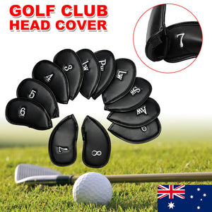 12x Golf Club Iron Head Covers Set PU Leather Headcover Putter Protect Universal