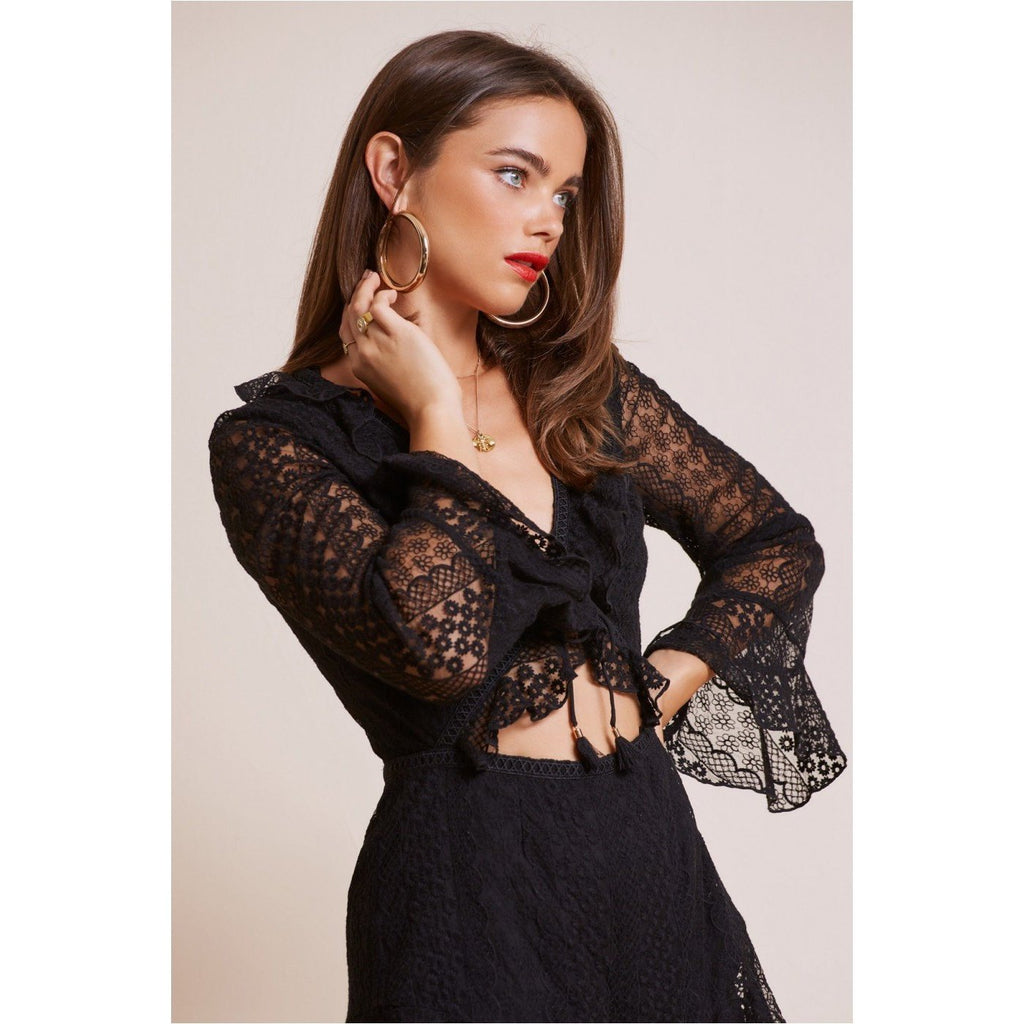 FINDERS KEEPERS NIGHTLIGHTS PLAYSUIT - BLACK