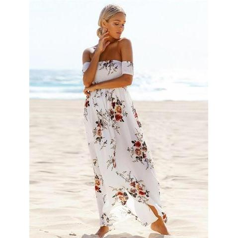 FLORAL LOVIN HIGH LOW OFF SHOULDER MAXI