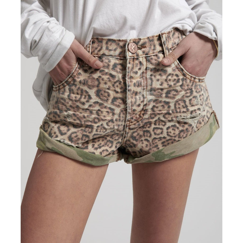 ONE TEASPOON LEOPARD BANDITS MID WAIST DENIM SHORTS