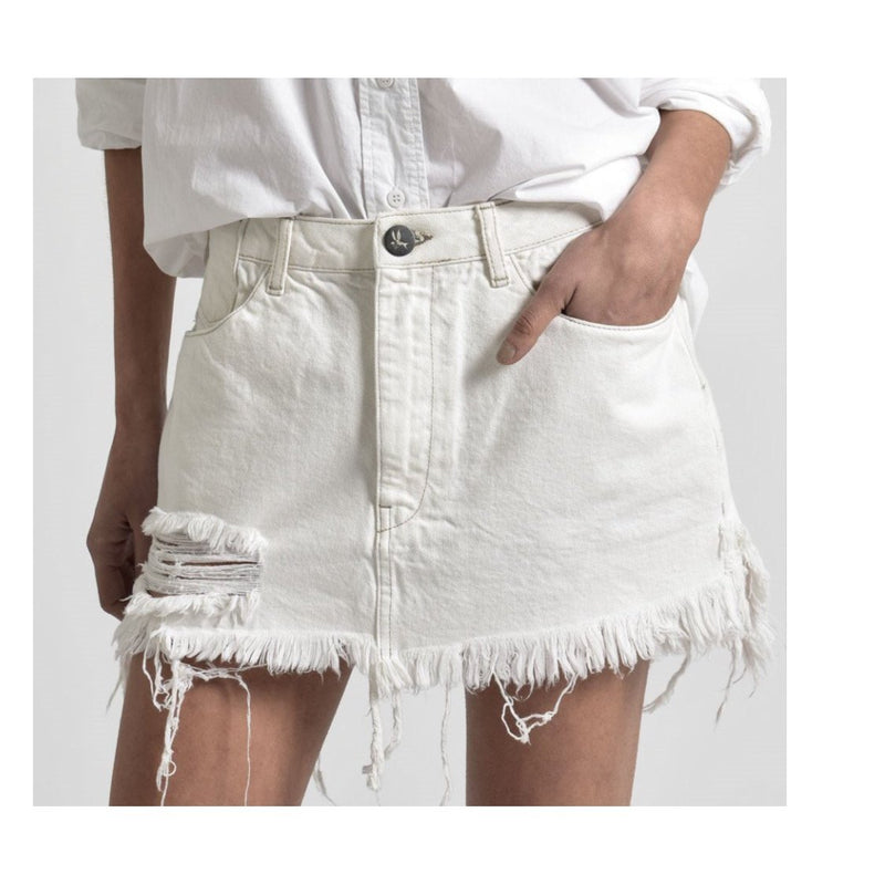 ONE TEASPOON NATURAL WHITE VANGUARD MID RISE RELAXED DENIM MINI SKIRT