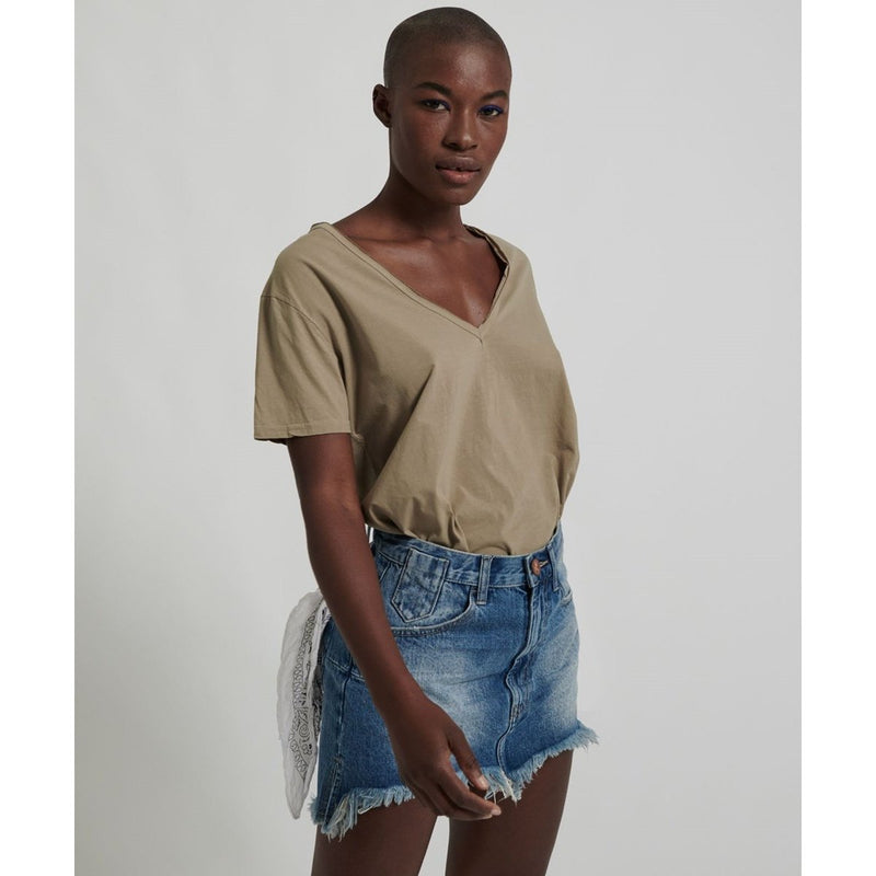 ONE TEASPOON PACIFICA VANGUARD MID RISE RELAXED DENIM MINI SKIRT