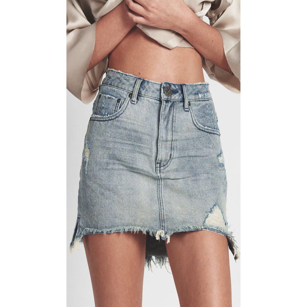 ONE TEASPOON ROCKY 2020 MINI HIGH WAIST DENIM SKIRT
