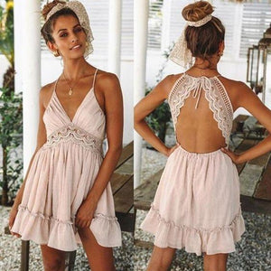 RASIA LACE SUMMER DRESS - PALE PINK