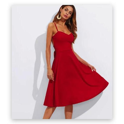 THINKING ABOUT YOU RED MIDI SKATER DRESS
