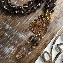 Load image into Gallery viewer, ROOTED | Smokey Quartz & Red Garnet | 108 Mala Beads | Mala Necklace