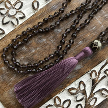 Load image into Gallery viewer, GROUND & BLOOM | Smokey Quartz & Bodhi Nut | 108 Mala Beads | Mala Necklace