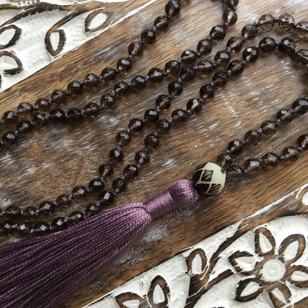 GROUND & BLOOM | Smokey Quartz & Bodhi Nut | 108 Mala Beads | Mala Necklace