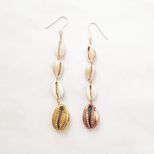Dipped cowrie earring pair