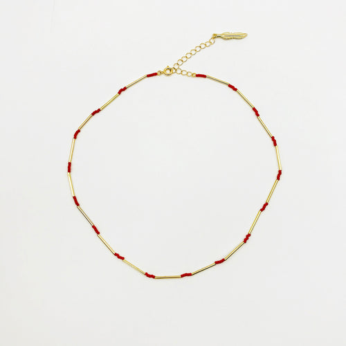 Red tube necklace