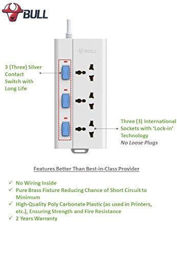 Prime Bull 3 Socket 3 Switch 3 M Wire Extension Board White Blue Wiring 101 Cajosaxxcnl